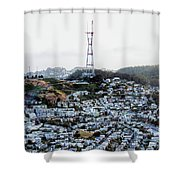 Twin Peaks In San Francisco Aerial Photo Shower Curtain