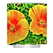 Twin Poppies Shower Curtain