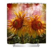 Twin Sunflowers Shower Curtain
