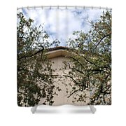 Twin Trees Framing Church Building Shower Curtain
