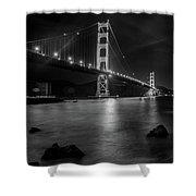 Twinkling Golden Gate Bridge Black And White Shower Curtain