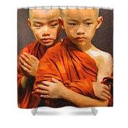 Twins In Orange Shower Curtain