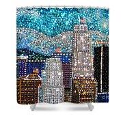 Los Angeles. Rhinestone Mosaic Beadwork Mix Shower Curtain