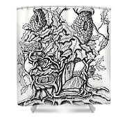 Twisted Willow Fairy House With Oak Leave Roof Shower Curtain