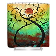 Twisting Love II Original Painting By Madart Shower Curtain by Megan Duncanson