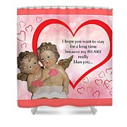 Two Angels And The Heart Shower Curtain