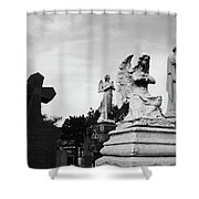 Two Angels Joseph, Jesus And A Bold Cross In A Cemetery Shower Curtain