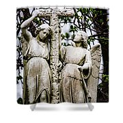 Two Angels With Cross Shower Curtain