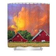 Two Barns At Sunset Shower Curtain