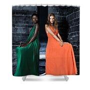 Two Beautiful Women In Elegant Long Dresses Shower Curtain
