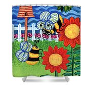 Two Bees With Red Flowers Shower Curtain by Genevieve Esson