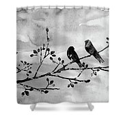 Two Birds-black Shower Curtain