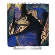 Two Blue Horses 1913 Shower Curtain