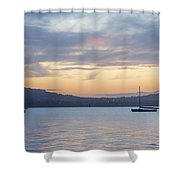 Two Boats In Blue Holywood Shower Curtain