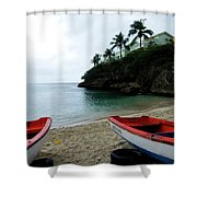 Two Boats, Island Of Curacao Shower Curtain
