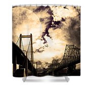 Two Bridges One Moon Shower Curtain by Wingsdomain Art and Photography