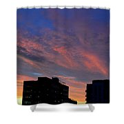 Two Buildings And Sky  Shower Curtain
