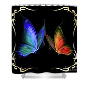 Two Butterflys -4 Shower Curtain