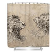 Two Camel Heads [recto] Shower Curtain
