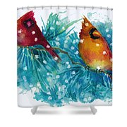 Two Cardinals Shower Curtain