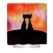 Two Cats And Sunset Silhouette Shower Curtain