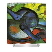 Two Cats Blue And Yellow 1912 Shower Curtain