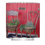 Two Chairs With Plants Shower Curtain