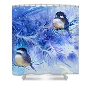 Two Chickadees In Snow Shower Curtain