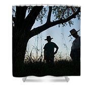 Two Children In Cowboy Hats Shower Curtain