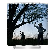 Two Children In Cowboy Hats Wave Shower Curtain
