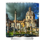 Two Churches And Columns Shower Curtain