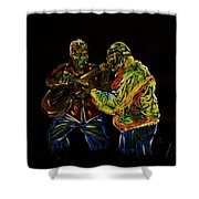 Two Classical Guitar Players  Shower Curtain
