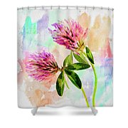 Two Clover Flowers With Pastel Shades. Shower Curtain