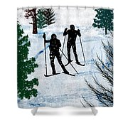 Two Cross Country Skiers In Snow Squall Shower Curtain