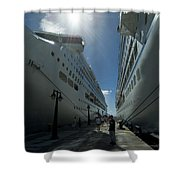 Two Cruise Ships On Either Side Shower Curtain