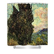 Two Cypresses Shower Curtain