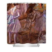 Two Dancers In Their Dressing Room Shower Curtain