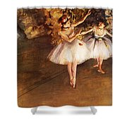 Two Dancers On Stage Shower Curtain