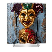 Two Decortive Masks Shower Curtain