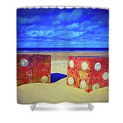 Two Dice On A Beach Shower Curtain