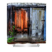 Two Doors On A Woodshed Shower Curtain