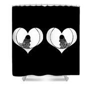 Two Dreamy Eyed Hearts Shower Curtain