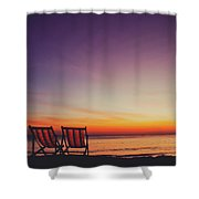 Two Empty And Inviting Beach Chairs Next To The Sea During Beautiful Sunset On Koh Lanta Island Shower Curtain