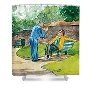 Two Englishmen In Conversation  Shower Curtain