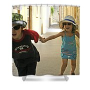 Two Excited Children Shower Curtain