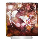 Two Fairies In The Web Shower Curtain