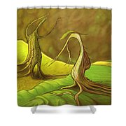Two Fantasy Trees  Shower Curtain