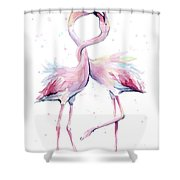 Two Flamingos Watercolor Famingo Love Shower Curtain