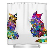 Two Fluffy Cats-colorful Shower Curtain