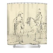 Two French Cavalrymen On Horseback Shower Curtain